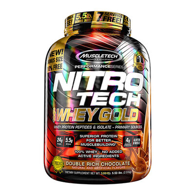 Muscle Tech/肌肉科技 NITRO-TECH 100%Whey Gold金装乳清蛋白粉5.5磅