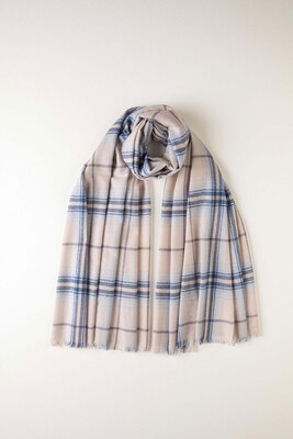 Johnstons of Elgin披肩NATURAL & BLUE CHECK CASHMERE STOLE