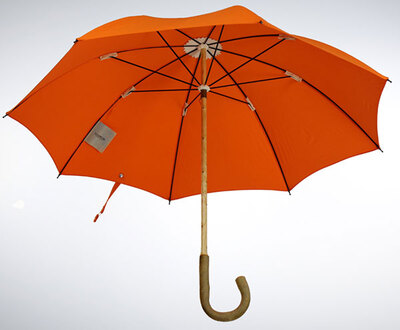 Lockwood SOLID ASH WOOD UMBRELLA WITH ORANGE COTTON CANOPY直杆伞