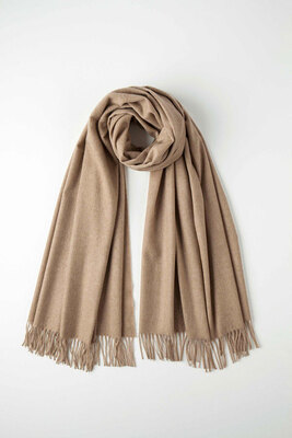 Johnstons of Elgin披肩FAWN UNDYED CASHMERE STOLE