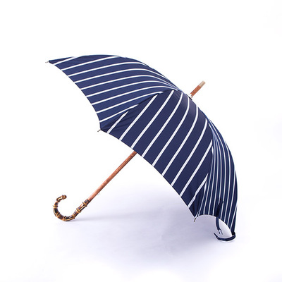 Maglia Francesco Navy Pinstripe Umbrella with Bamboo Handle直杆伞