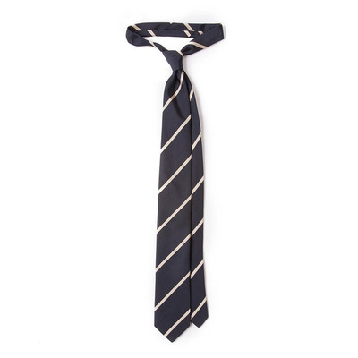 Drake's London Woven Tie系列 Navy and White Woven Repp Stripe Silk Tie领带
